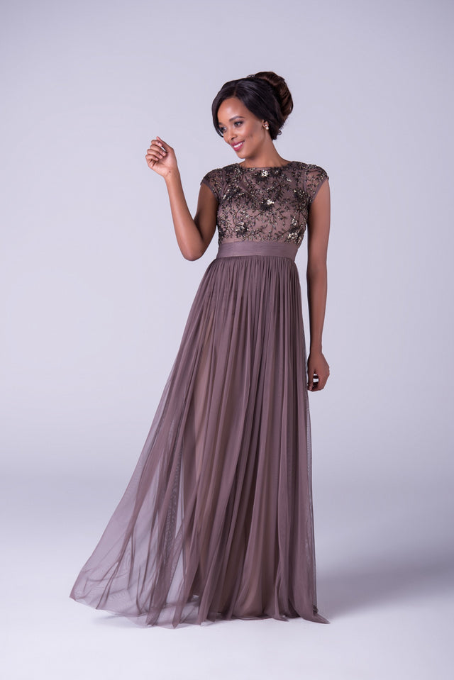 Beaded Bodice with Soft Chiffon Skirt Formal Dress