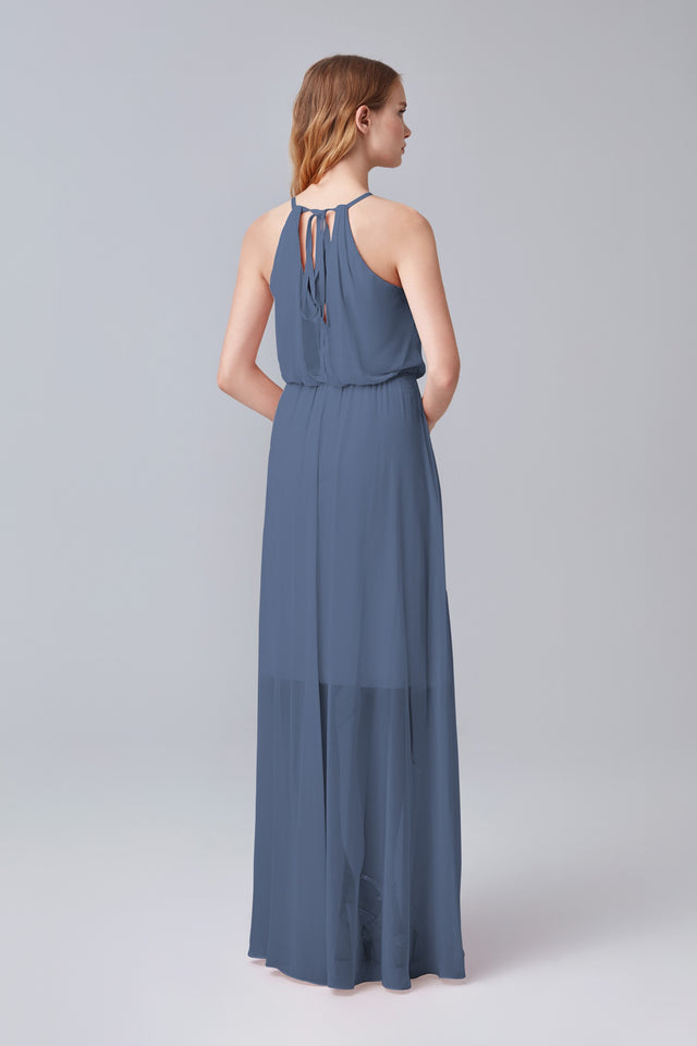 High-Low Chiffon Halter Bridesmaid Dress