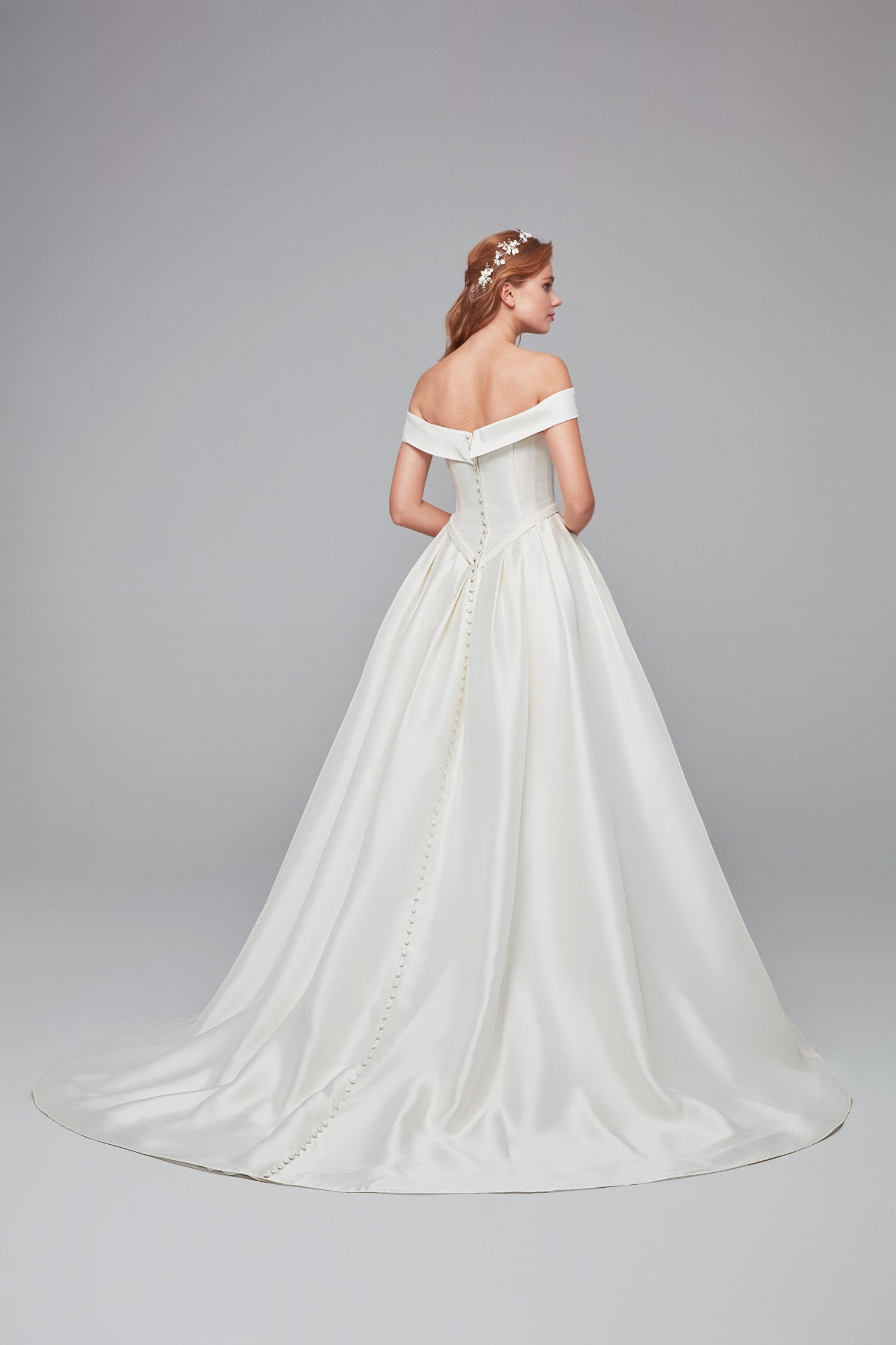 Off the shoulder ball gown with pockets and back button detail-WPD21223