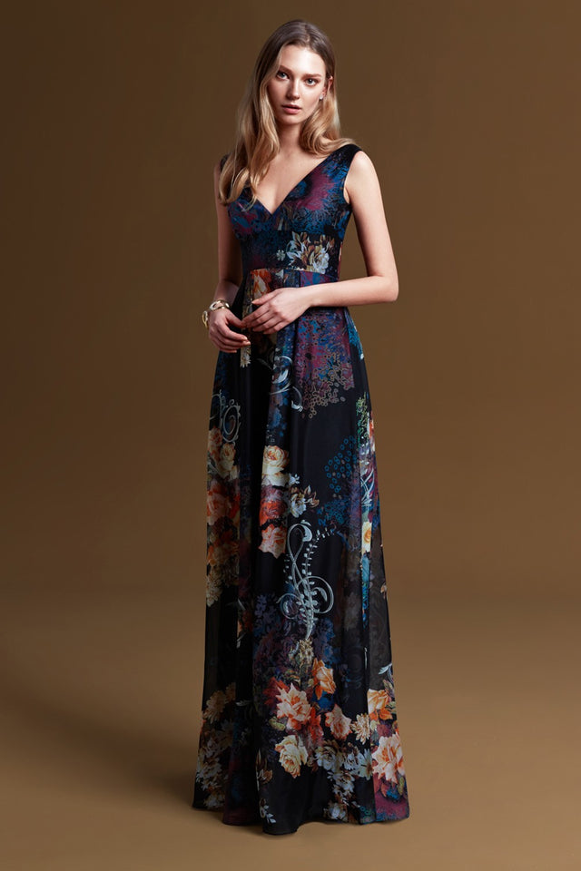 Floral Printed V-neck Formal Gown