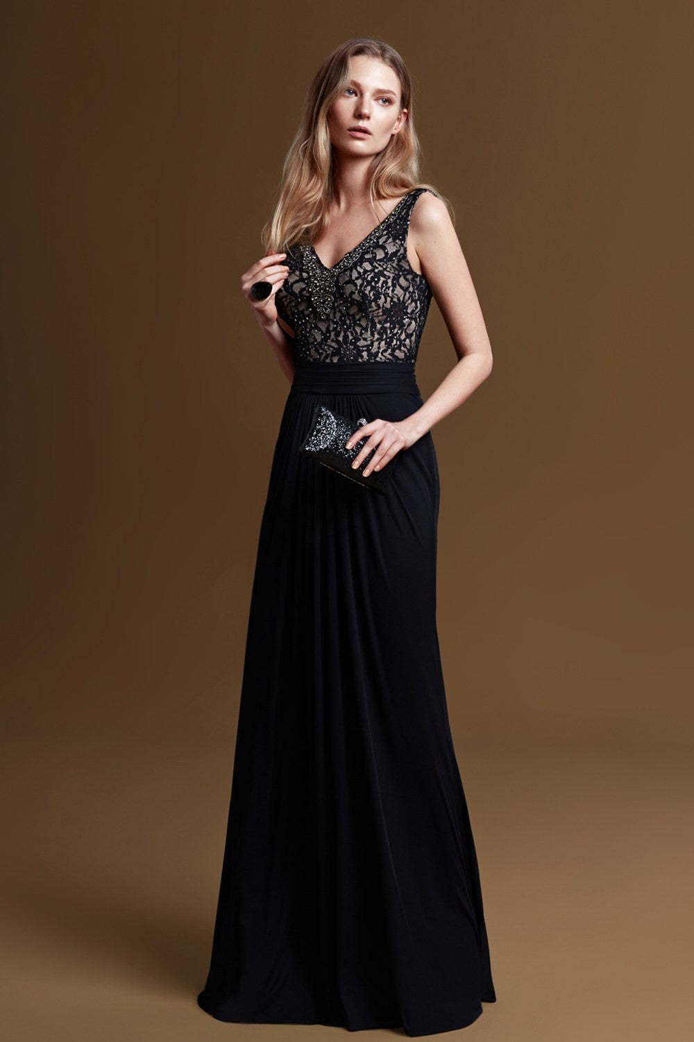 Beaded V-neck Formal Dress-4xlwbm1056v5