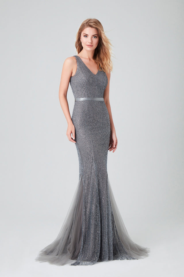 Fully Beaded Full Length Formal Gown