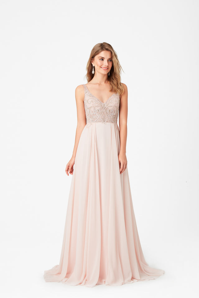 Soft Petal pink formal dress with jewelled bodice and illusion back