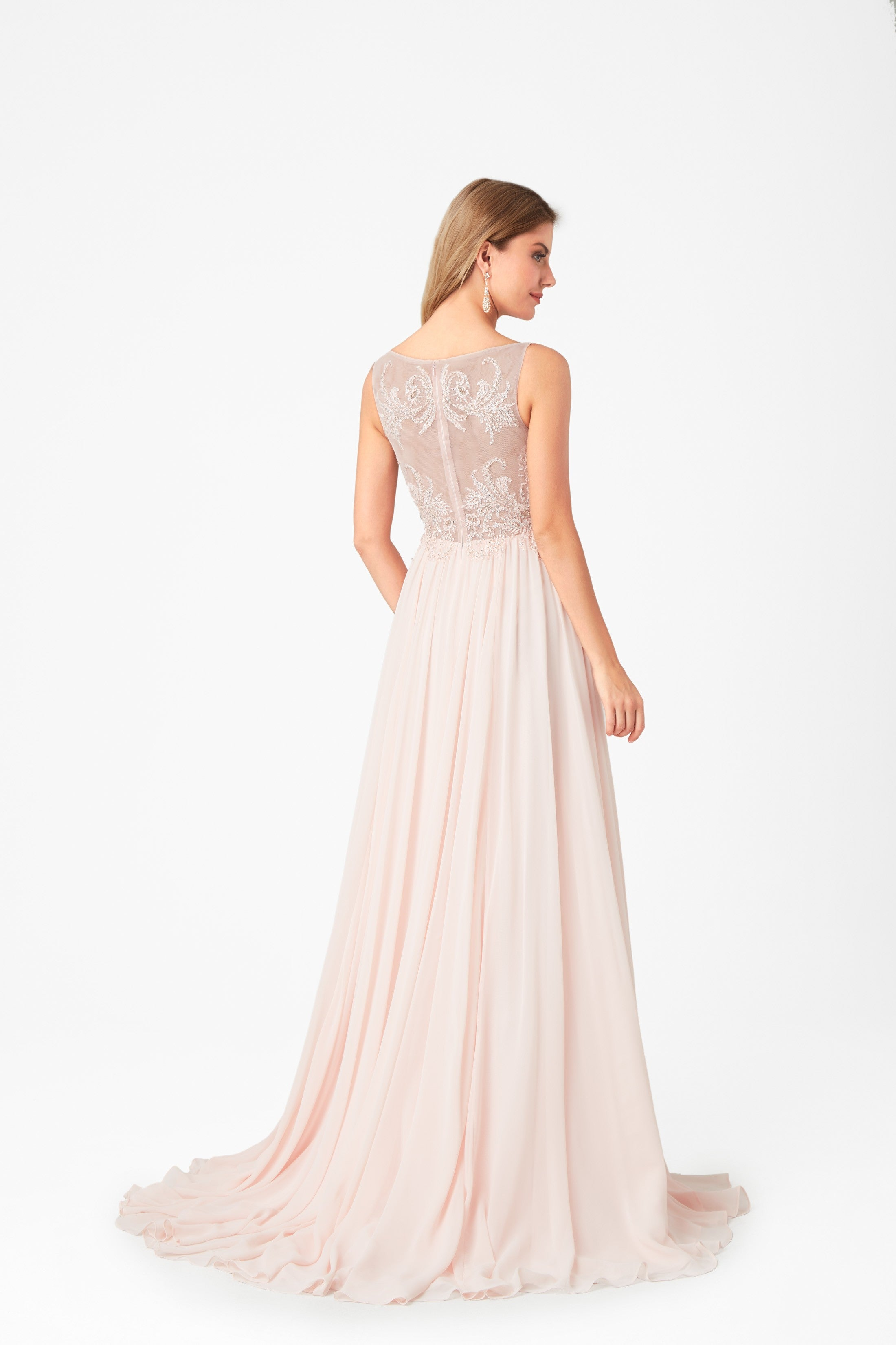973b4cadb5fbe Soft petal pink formal dress with jewelled bodice and illusion  back-4XLVC4344