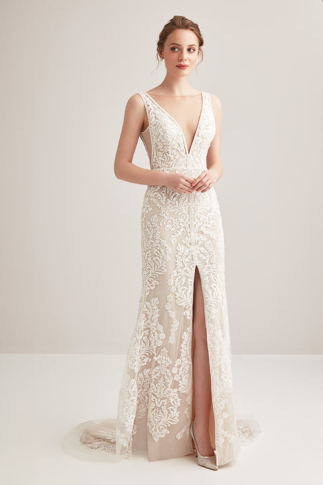 Plunging neckline lace fit flare ivory and gold gown with split