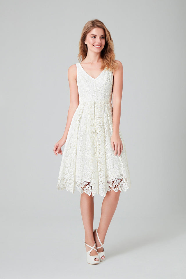 Crochet cutout  lace v-neck tea-length gown