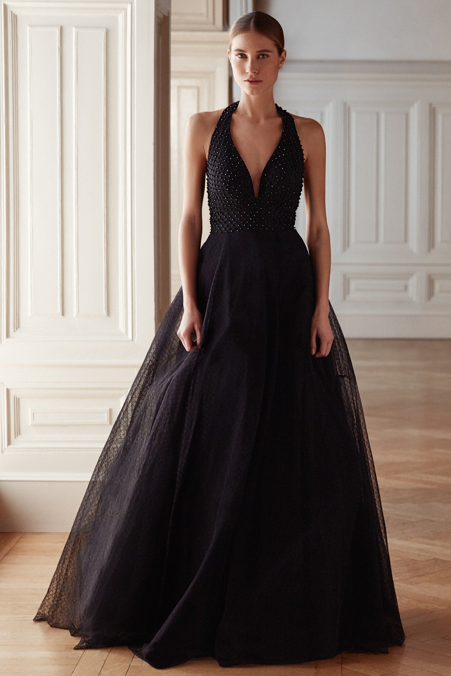 Low v-neck formal gown