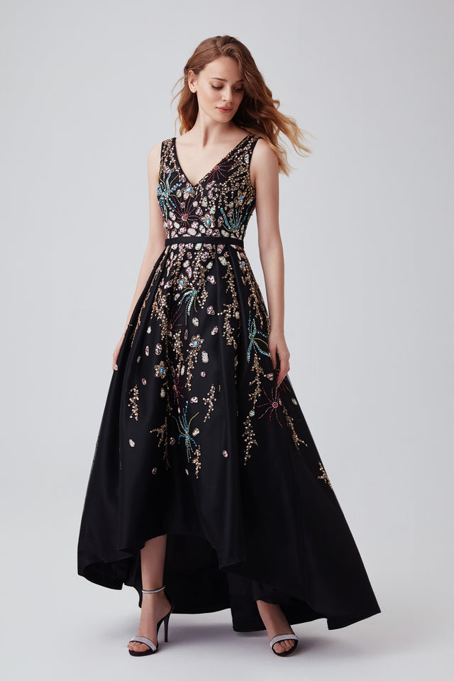 Black beaded high-low formal dress