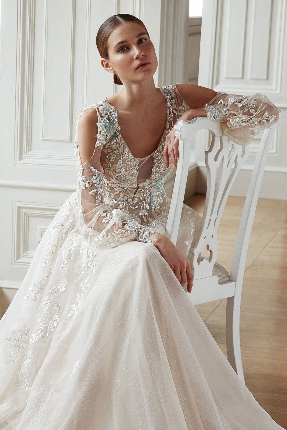 Ivory beaded lace formal gown