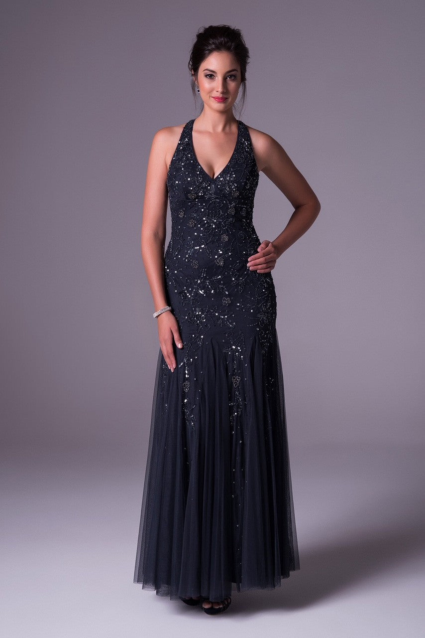 Beaded V-Neck Halter Prom Dress with Open Back