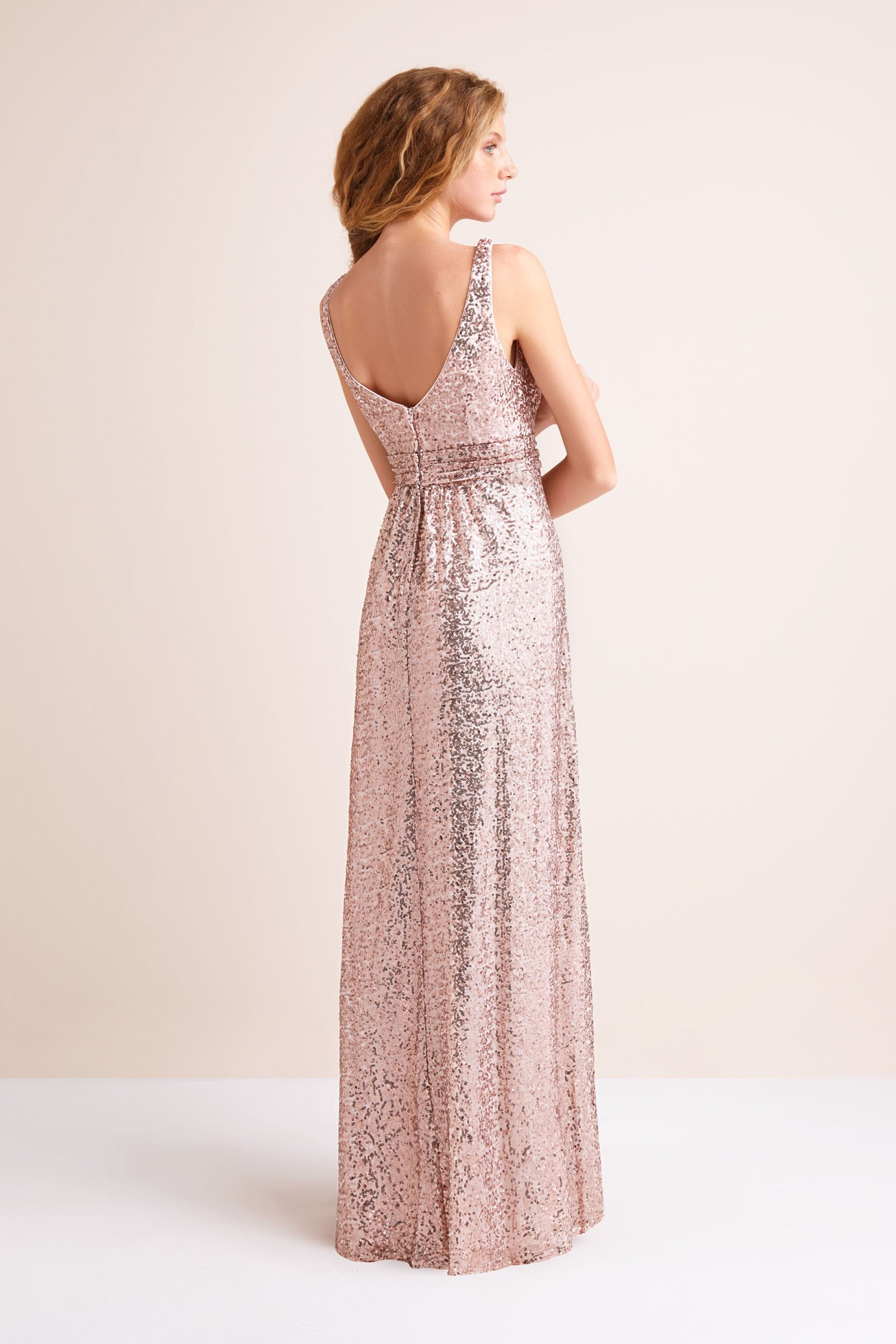 Sequin V-Neck Bridesmaid Dress with Satin Piping
