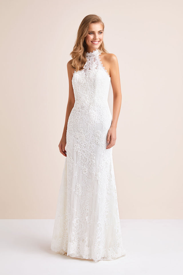 Lace High-Neck Halter Sheath Wedding Dress