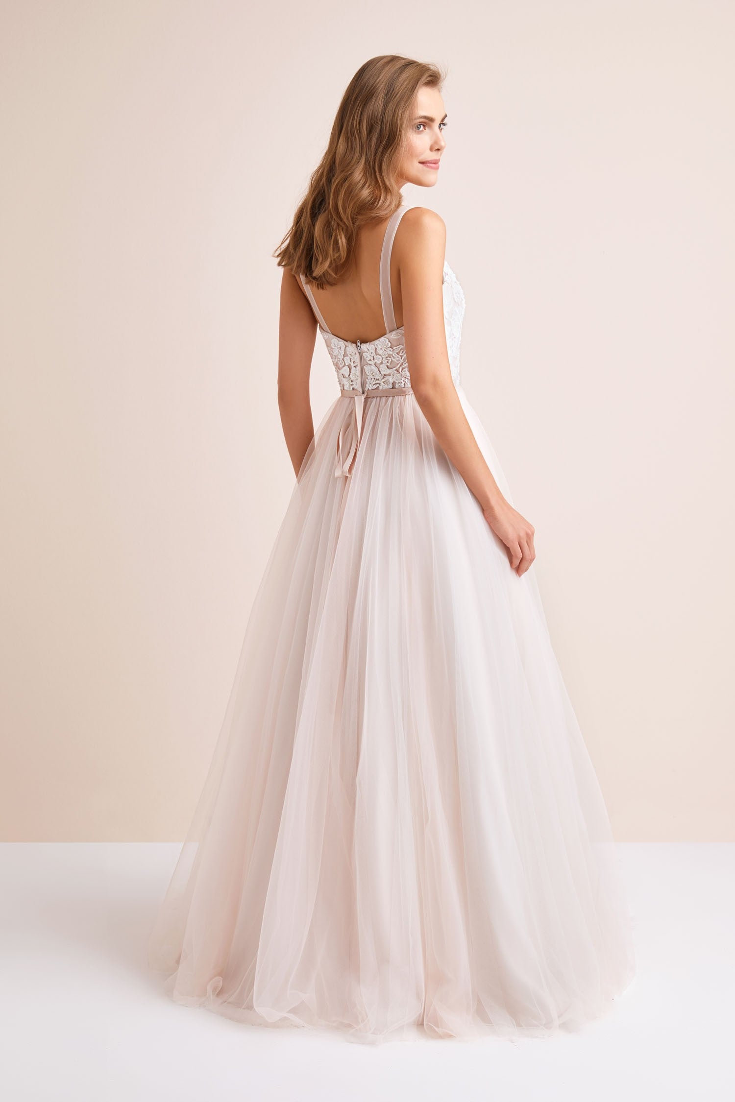 Lace and Tulle Ball Gown Wedding Dress with Ribbon