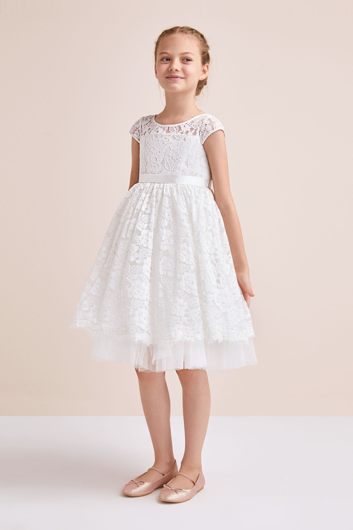 Lace Flower Girl Ball Gown with Illusion Sleeves