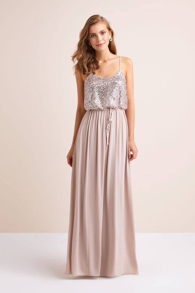 Long Sequin Blouson Bridesmaid Dress