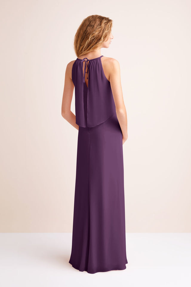 Flounced Crinkle Chiffon Sheath Bridesmaid Dress