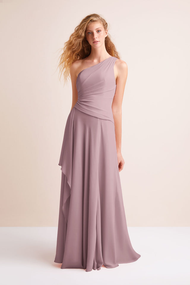 One-Shoulder Georgette Cascade Bridesmaid Dress