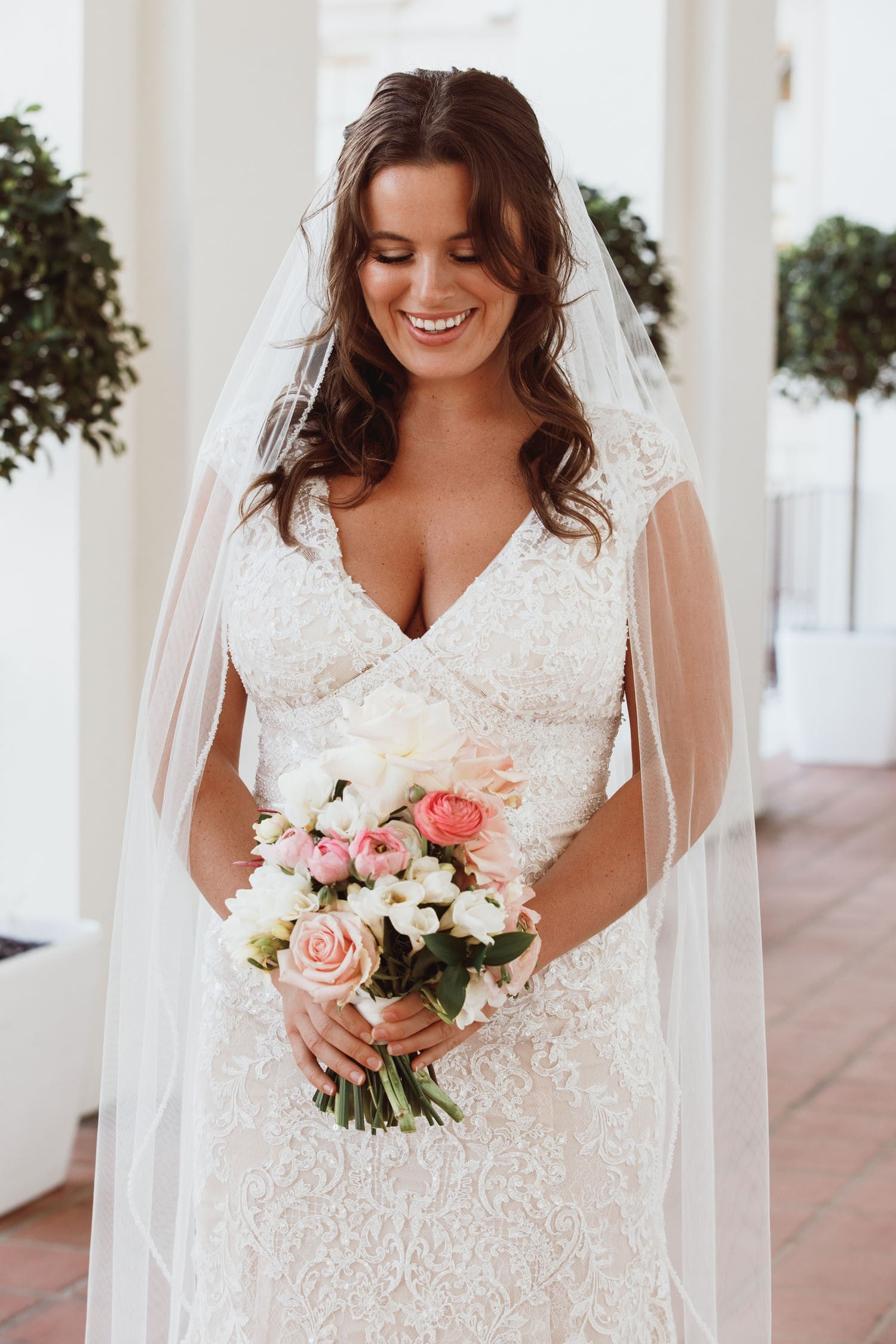 Cap Sleeve Plunging V-Neck Plus Size Wedding Dress