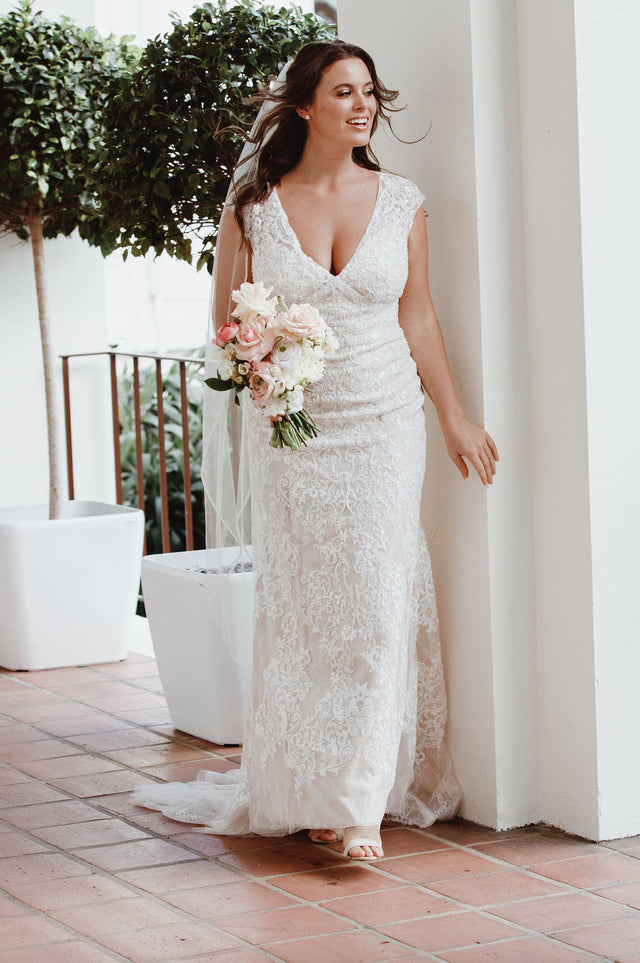 Cap Sleeve Plunging V-Neck Sheath Wedding Dress