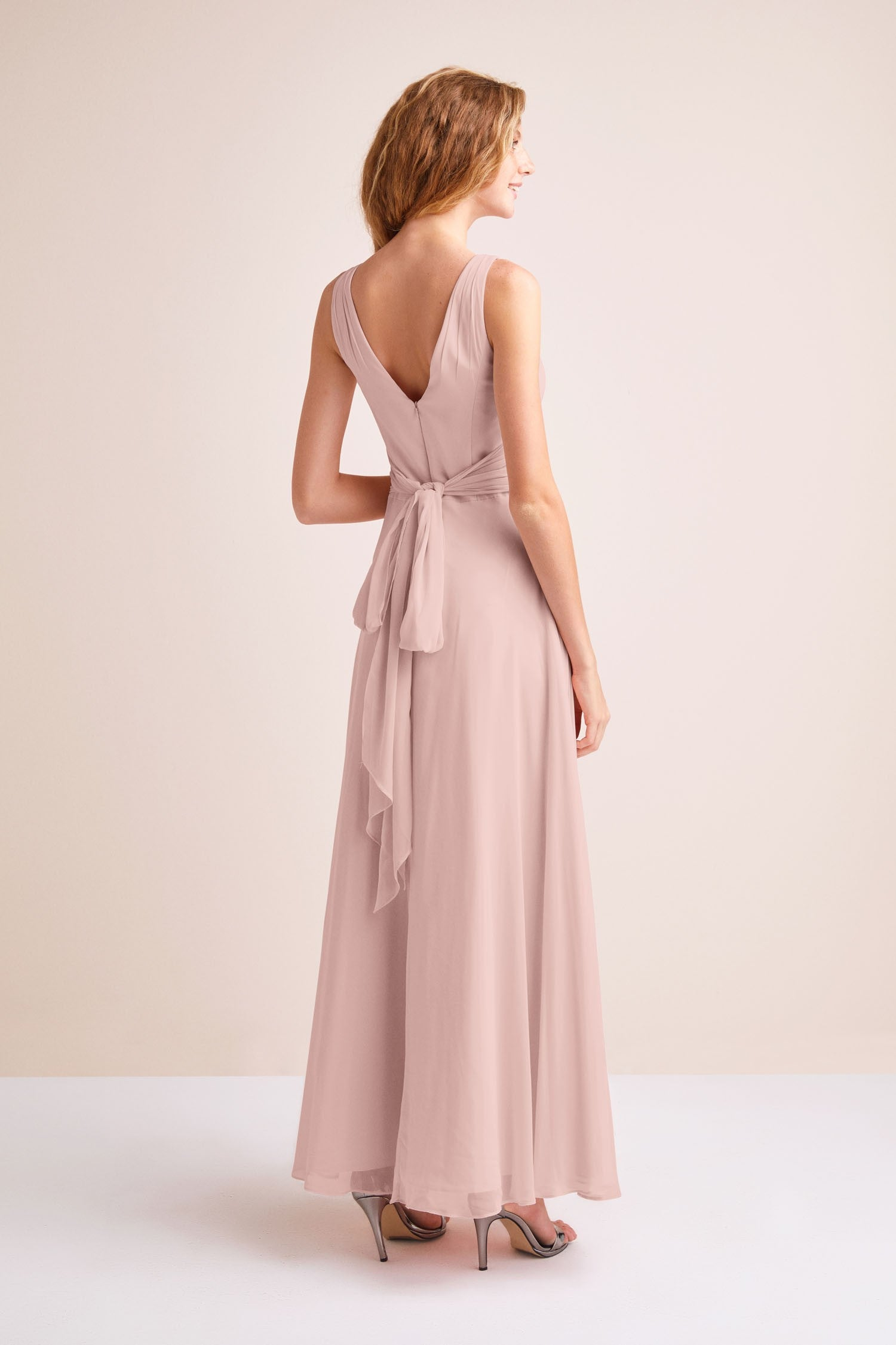 Surplice Tank Long Chiffon Bridesmaid Dress