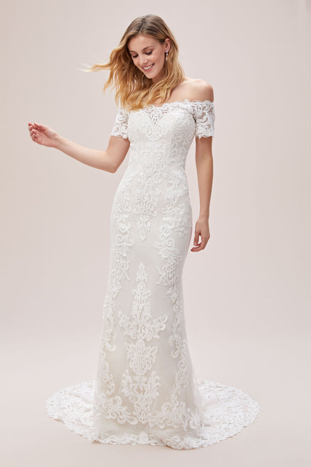 Off the Shoulder Lace Sheath Wedding Dress