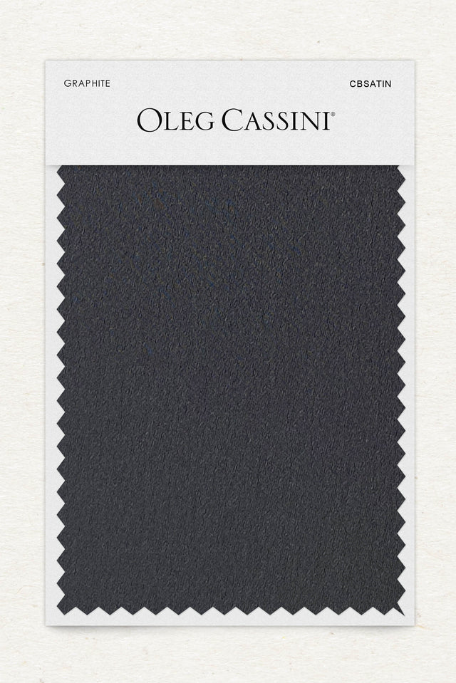 Graphite Crepe-Back Satin Fabric Swatch