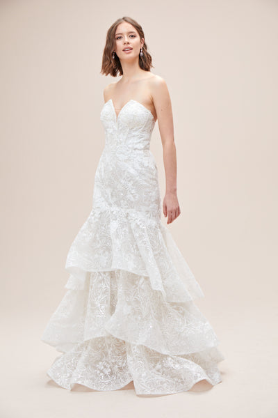 High Low Brocade Plus Size Ball Gown with Beading   David's Bridal