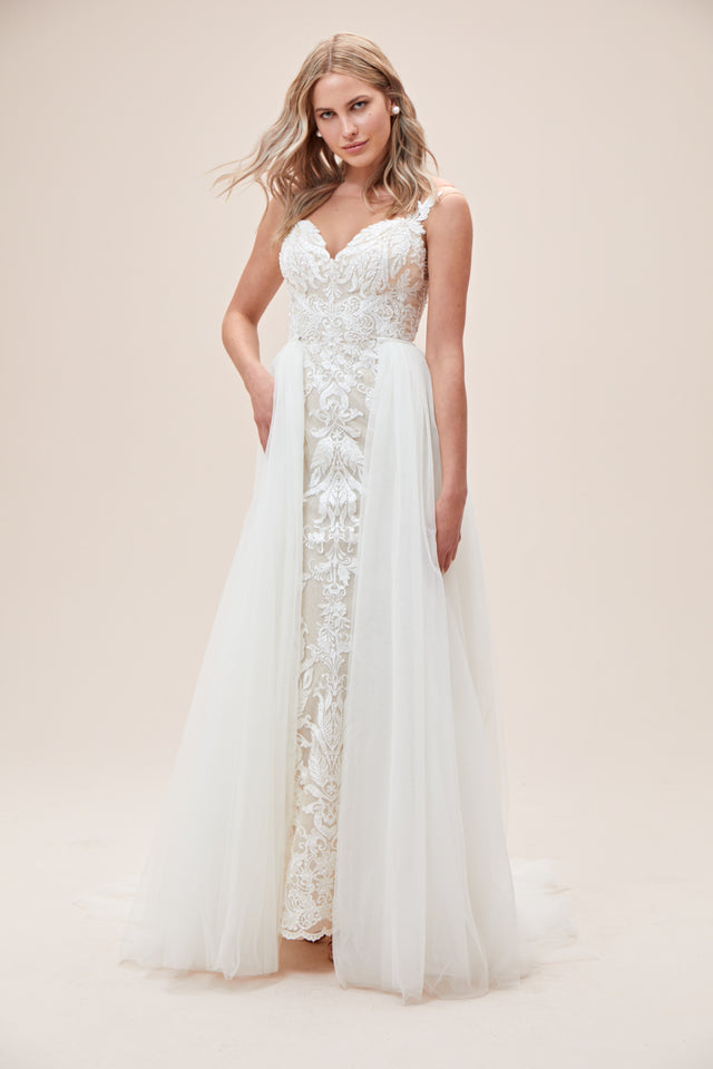 Lace Sheath Wedding Dress with Tulle Overskirt