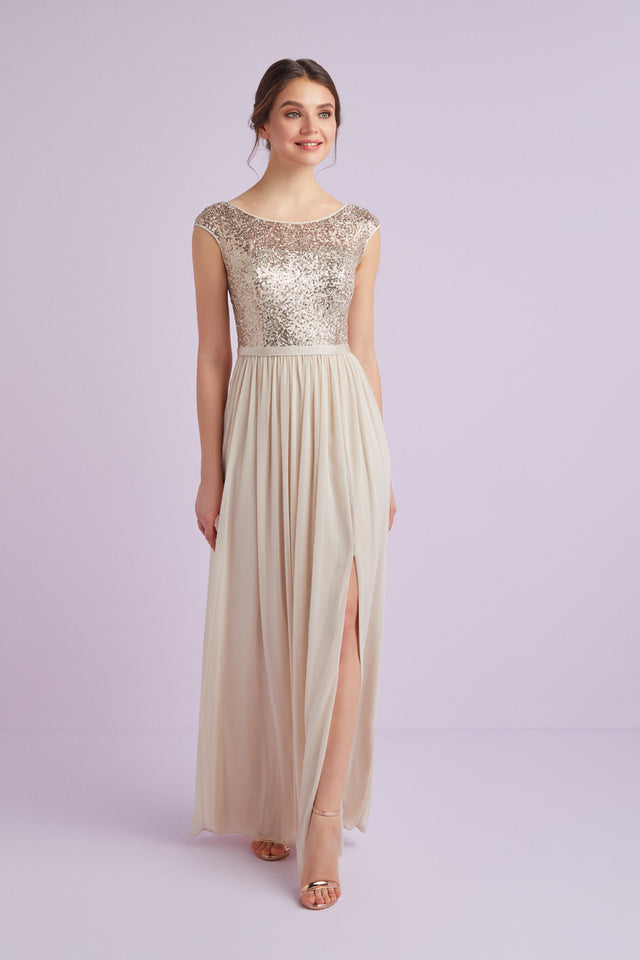 Sleeveless Sequin and Mesh Bridesmaid Dress