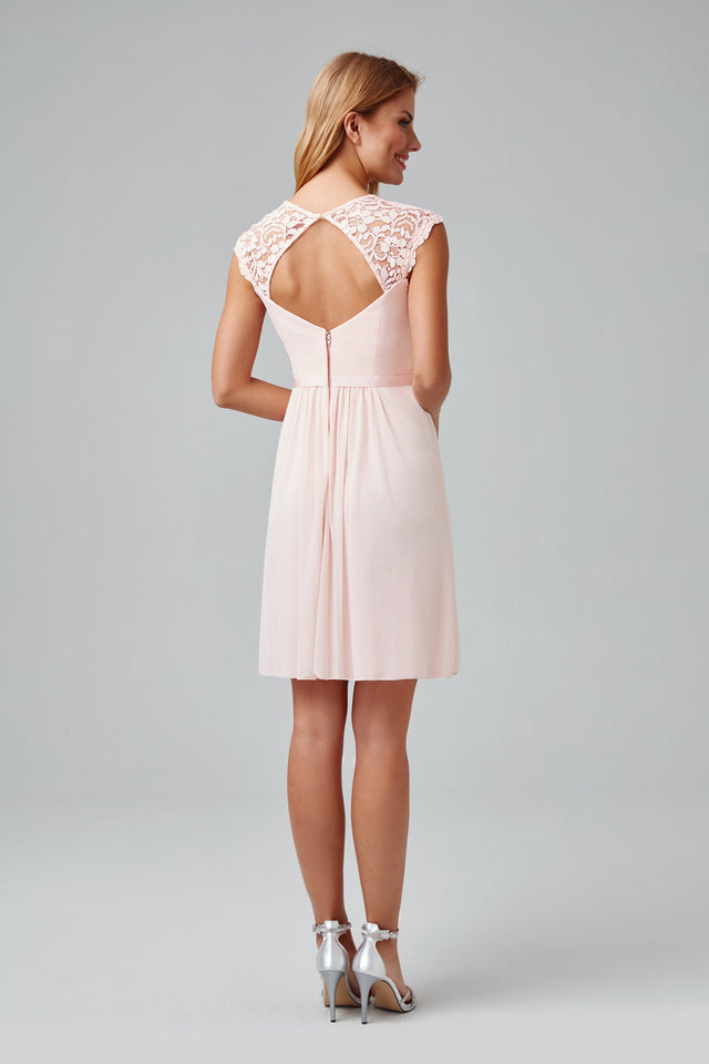 Mesh Dress with Lace Sleeves and Keyhole Back