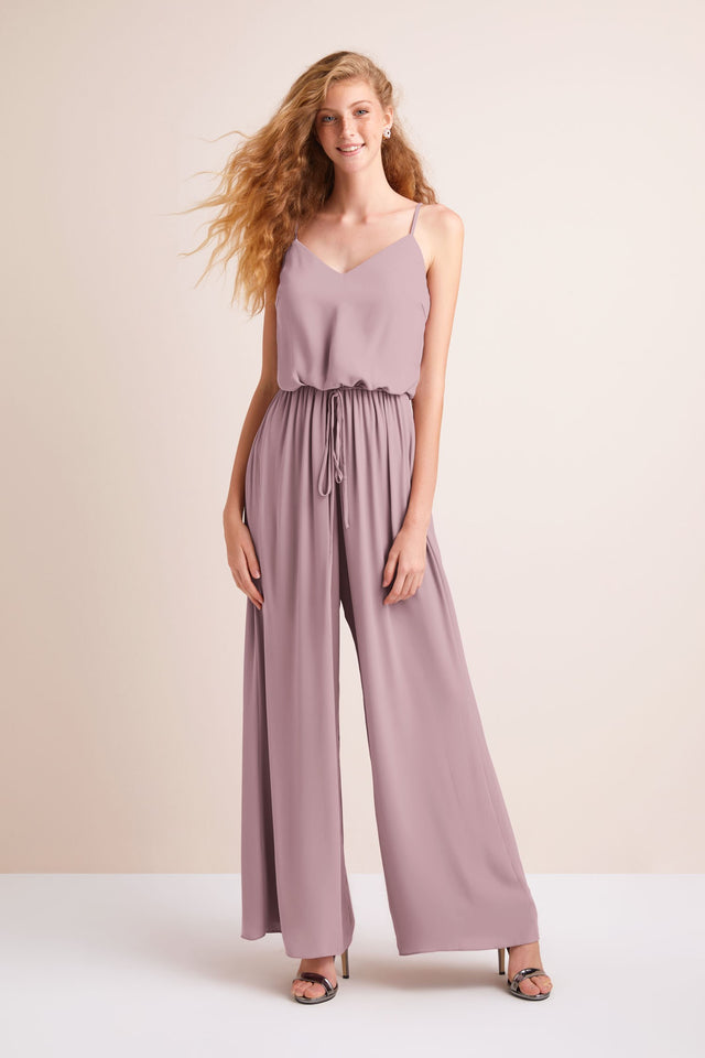 Flowy Wide-Leg Georgette Bridesmaid Jumpsuit