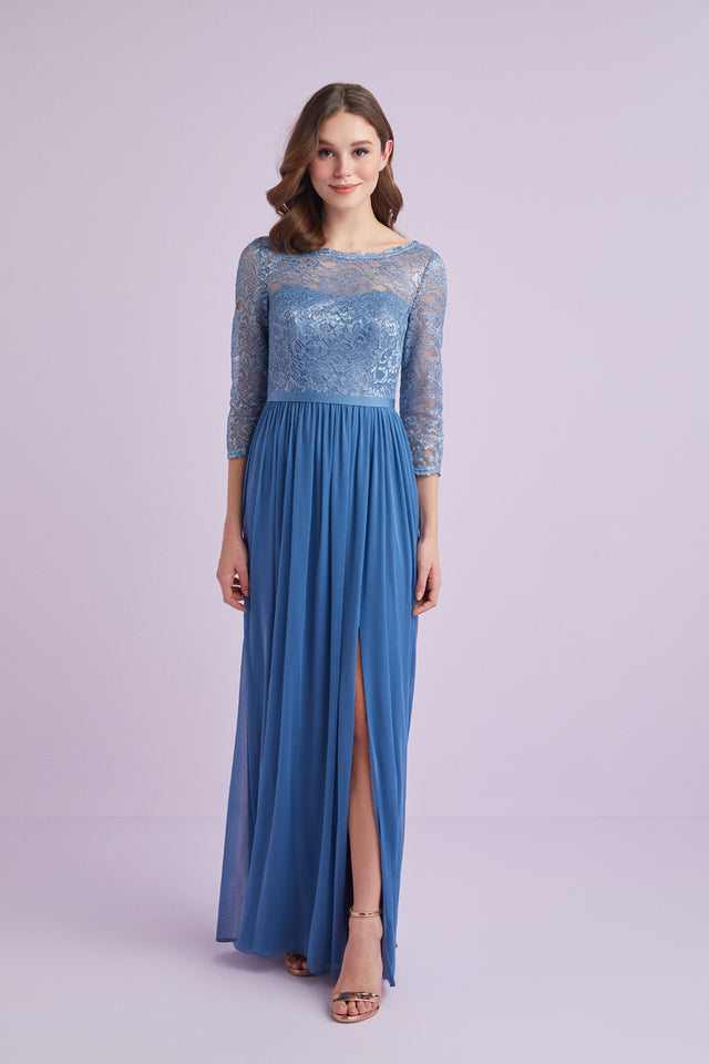 3/4-Sleeve Metallic Lace and Mesh Bridesmaid Dress