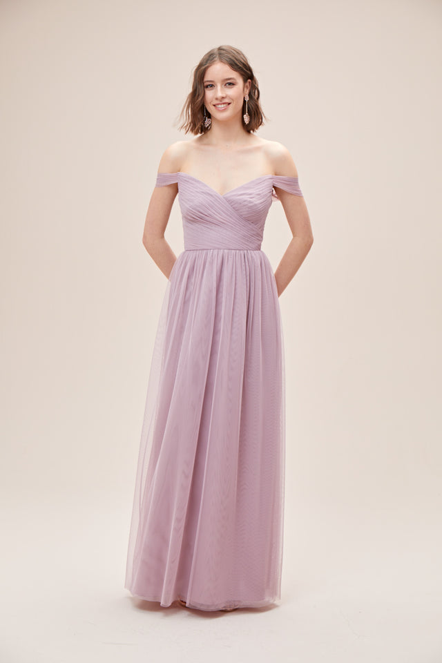 Off-the-Shoulder Pleated Soft Net Bridesmaid Dress