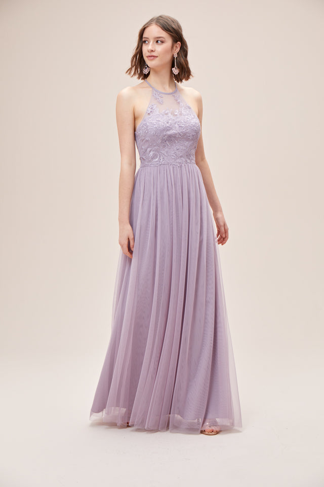 High-Neck Embroidered Soft Net Bridesmaid Dress