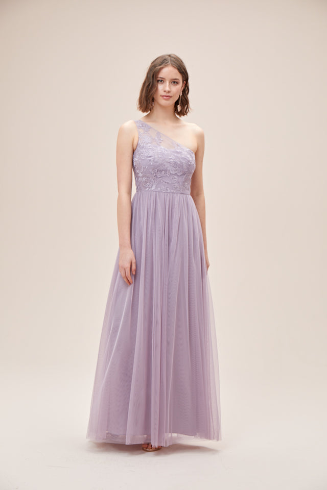 One-Shoulder Embroidered Soft Net Bridesmaid Dress