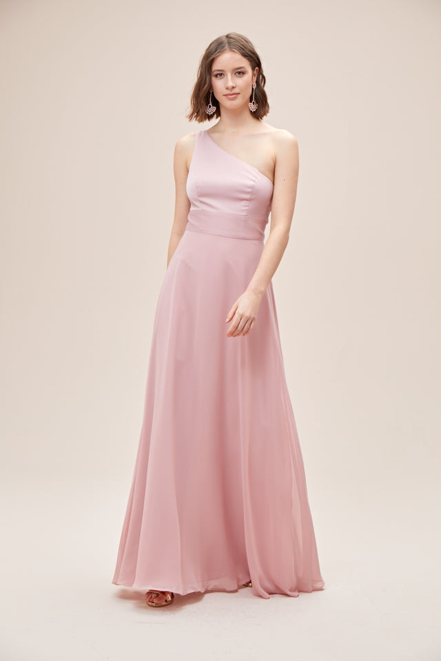 One-Shoulder Crepe-Back Satin Bridesmaid Dress
