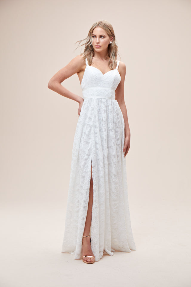 Grosgrain Banded Stretch Lace Wedding Dress