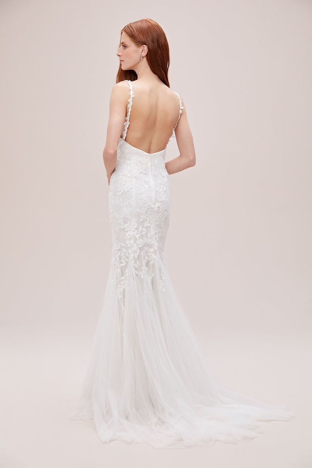 Cross-Back Chantilly Lace Mermaid Wedding Dress