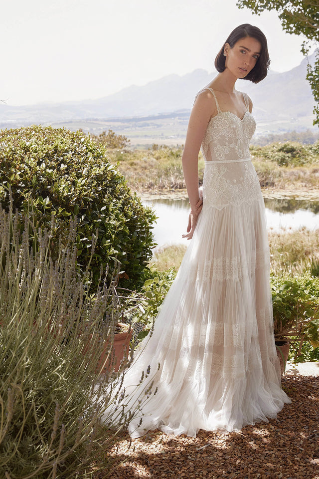Banded Lace Point D'Esprit Tulle Wedding Dress