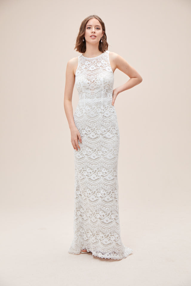 Plunge Illusion Chantilly Lace Wedding Dress