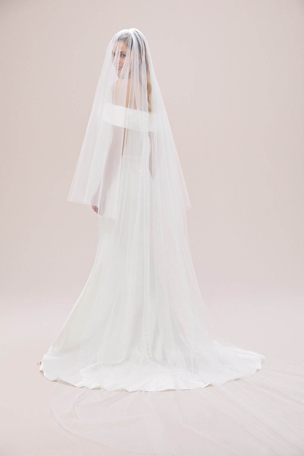 Two-tier Cathedral Length Veil with Raw Edge-image