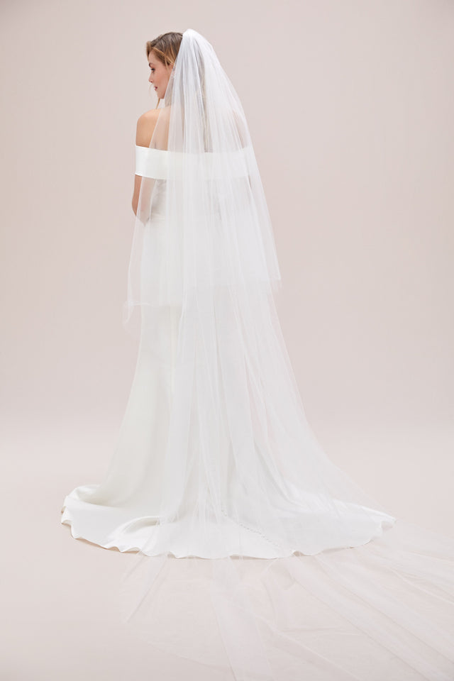 Two-tier Cathedral Length Veil with Raw Edge