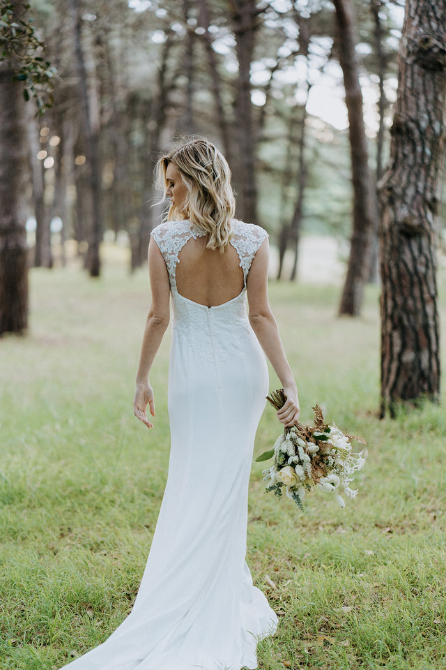 Cap Sleeve Crepe Sheath Wedding Dress