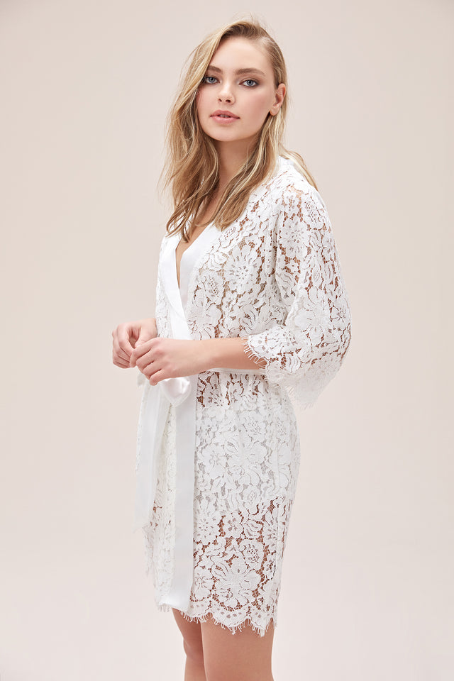 White Bridal Lace Robe