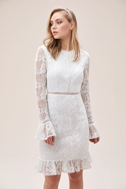 Lace Illusion Short Dress with Flounce Trim