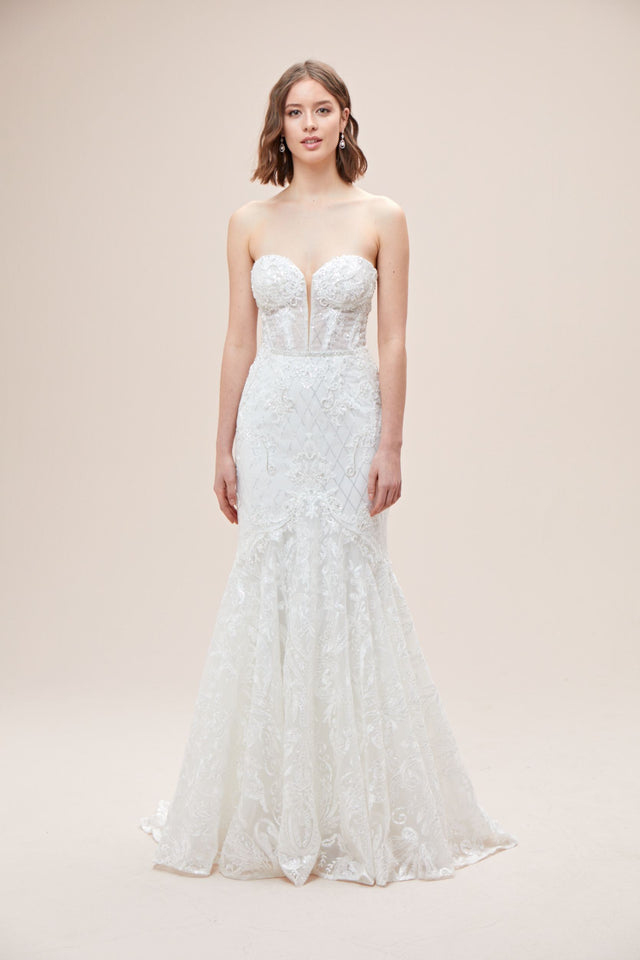 Beaded Brocade Embellished Mermaid Wedding Dress