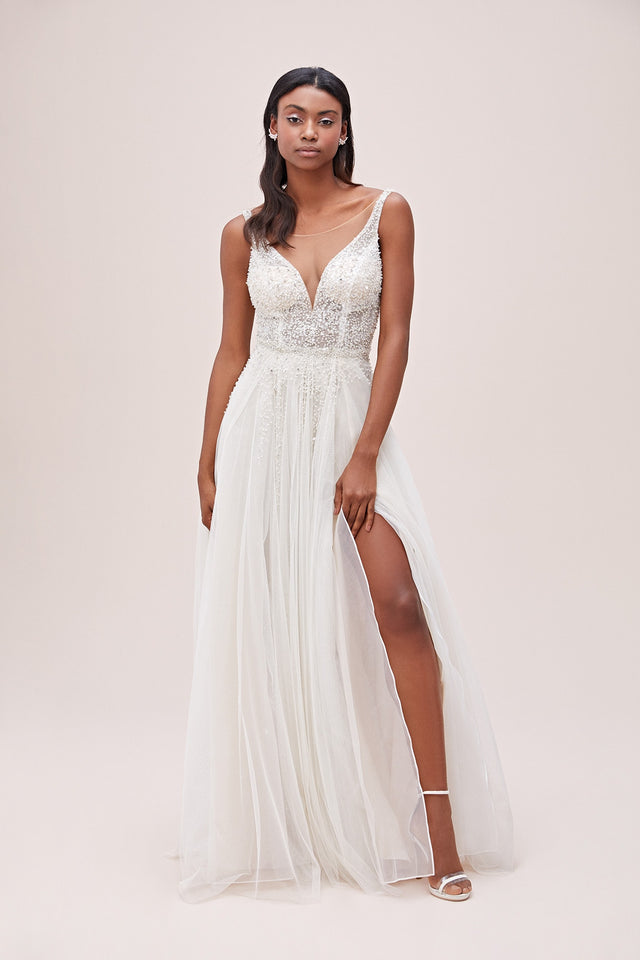 Beaded Bodice Plunging-V Illusion Wedding Dress