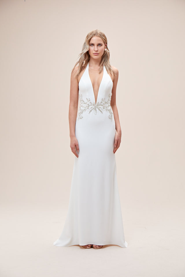 Embellished Waist Plunge Halter Wedding Dress