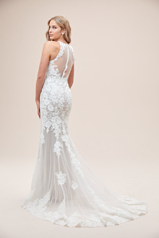 Illusion Sequin Floral Applique Wedding Dress