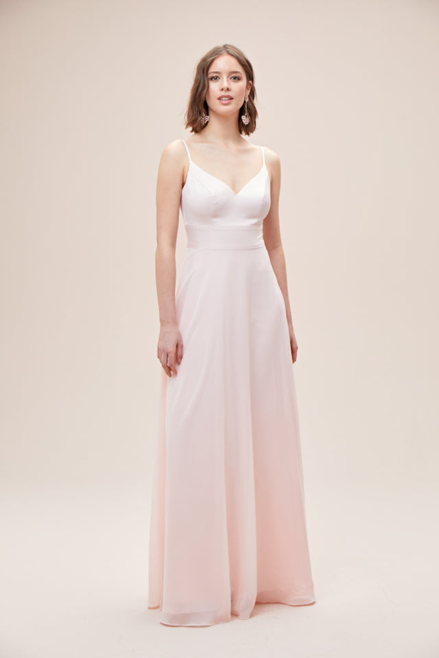Spaghetti Strap Crepe-Back Satin Bridesmaid Dress